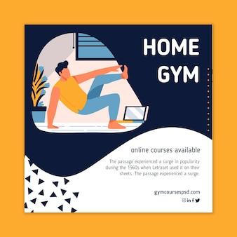 Sport thuis vierkante flyer-stijl