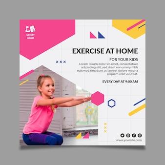 Sport thuis vierkante flyer