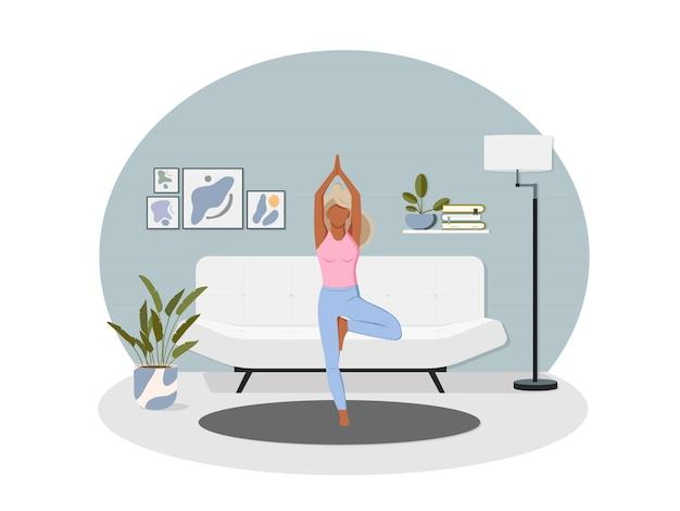 Sport thuis. vrouw training binnen. yoga en fitness, gezonde levensstijl.