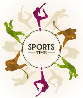 Sport tijd poster met atleten cijfers silhouetten