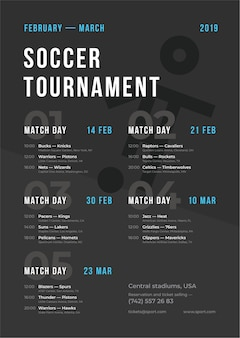 Sport toernooi poster sjabloon