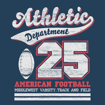 Sport typografie, university football athletic dept. t-shirt afbeeldingen, vintage print