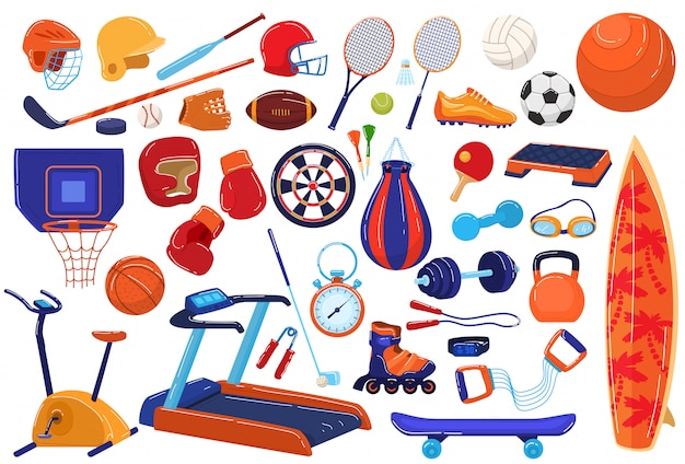 Sport uitrusting illustratie pictogrammenset, cartoon sportman collectie met bal racket voor voetbal honkbal, voetbalspel, tennis