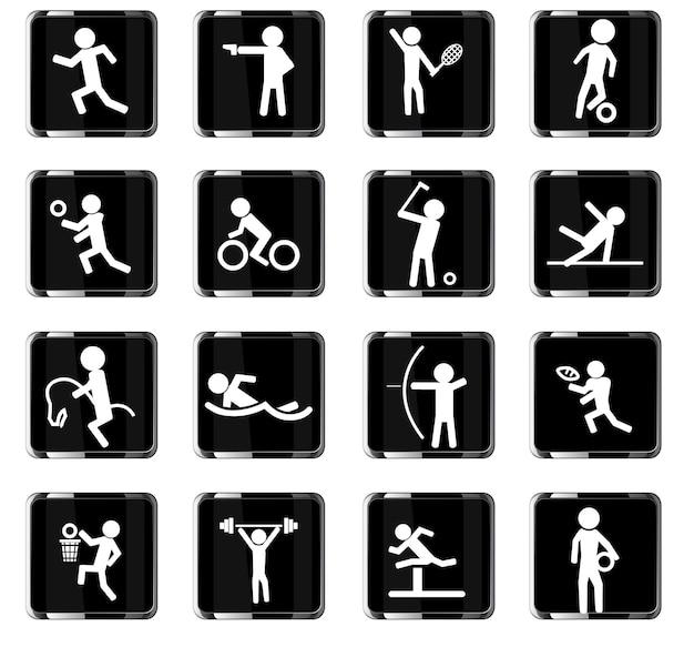 Sport vector iconen voor gebruikersinterface ontwerp