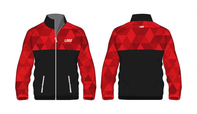 Sport veelhoek jas rood en zwart sjabloon voor ontwerp op witte achtergrond. vector illustratie eps 10.