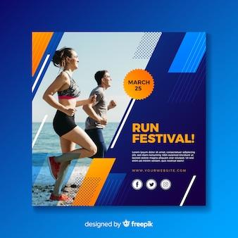 Sport vierkante banner met foto