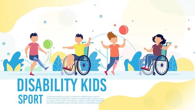 Sport voor gehandicapte kinderen platte banner