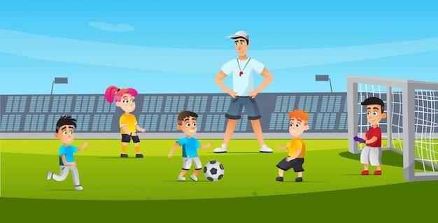Sport voor kinderen voetbaltraining cartoon flat.