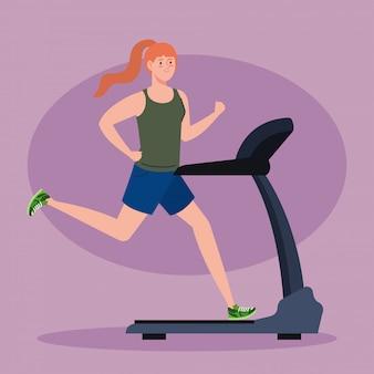 Sport, vrouw draait op loopband, sport persoon op de elektrische training machine