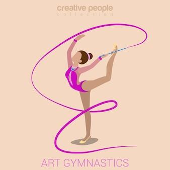 Sport vrouwen kunst gymnastiek training oefening prestaties platte 3d web isometrische infographic