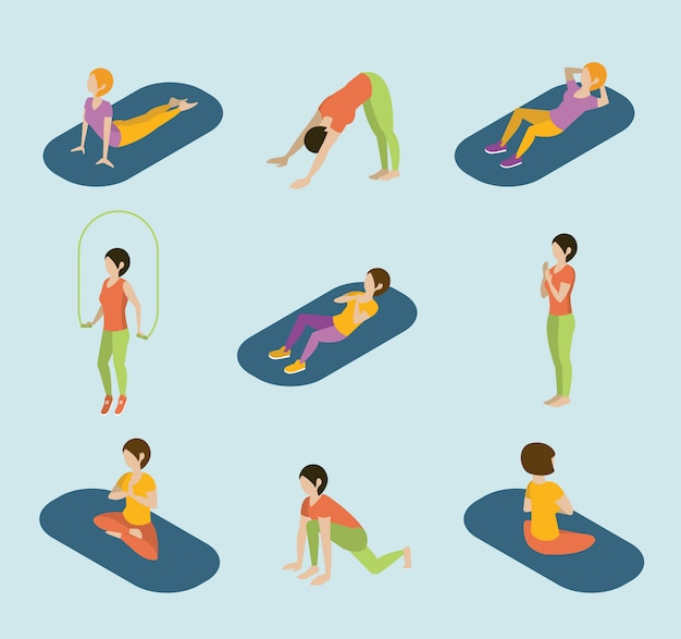 Sport vrouwen yoga gym gymnastiek training oefening flat 3d web isometrische infographic vector.