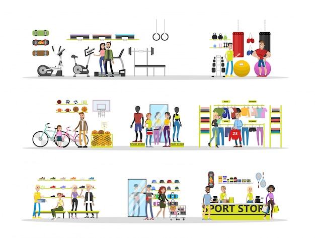 Sport winkel stad gebouw met klanten en apparatuur.