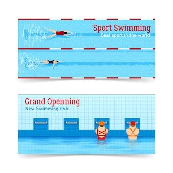 Sport zwemmen grand openning banners set
