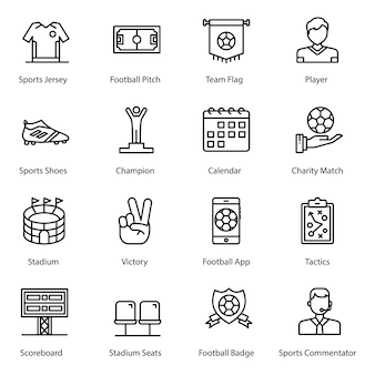 Sportaccessoires lijn iconen pack