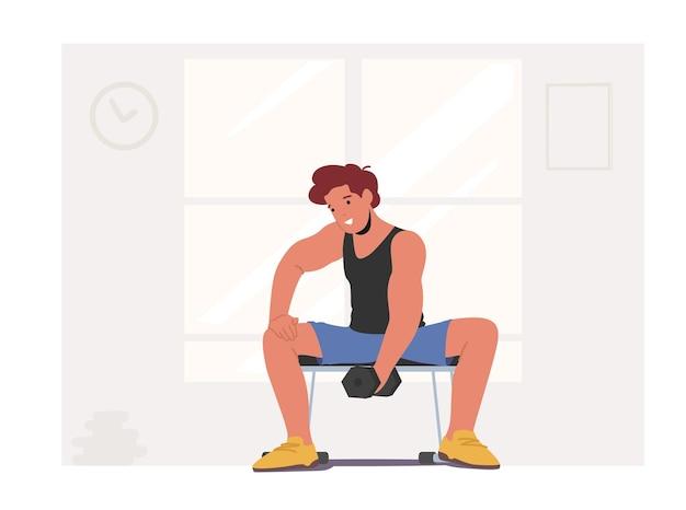 Sportactiviteit, fitness. sportman powerlifter training met halter in sportschool. mannelijk karakter in sportkleding training met gewicht. bodybuilding oefeningen, gezonde levensstijl. cartoon vectorillustratie
