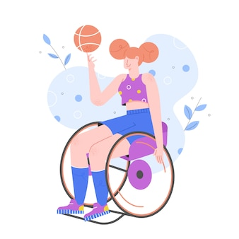 Sportactiviteiten voor gehandicapten. het meisje in een rolstoel speelt basketbal. paralympische spelen.