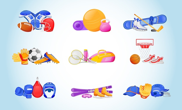 Sportartikelen egale kleur objecten instellen. beschermend uniform voor american football. bal en kettlebell voor fitness. sportuitrusting 2d geïsoleerde cartoon illustraties op verloop achtergrond