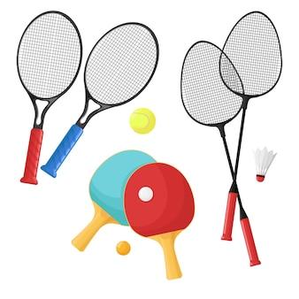 Sportartikelen voor tennis, badminton en pingpong. rackets en ballen, shuttle.