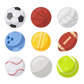 Sportballen illustraties set