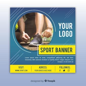Sportbanner met foto vlak ontwerp