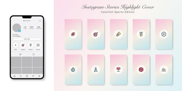 Sporteditie instagramverhalen markeer omslagen design Premium Vector
