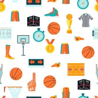 Sporten naadloos patroon met basketbalpictogrammen