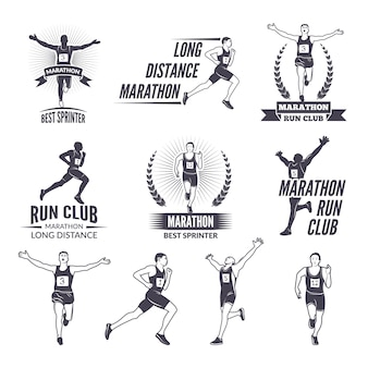 Sportetiketten bij marathathema voor sportteams.