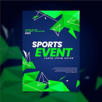 Sportevenement poster met geometrische neon groene vormen