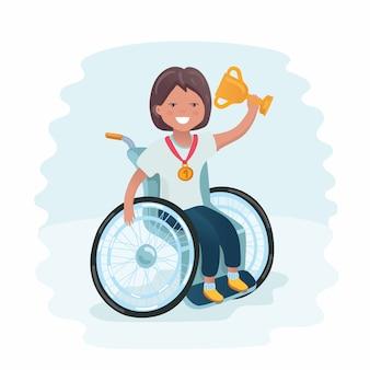 Sportfamilie. gehandicapt meisje in een rolstoel die een bal speelt en plezier heeft met haar vriend. coachen van jonge sporters. medische revalidatie. illustratie. Premium Vector