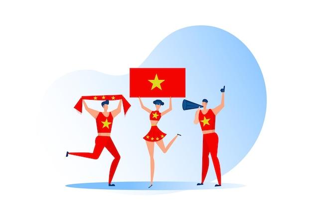 Sportfans, mensen uit china die een voetbalteam vieren. actieve teamondersteuning voetbalsymbool en overwinningsviering.