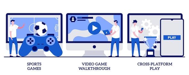 Sportgames, videogame-walkthrough, platformonafhankelijk speelconcept met kleine mensen. digitale gaming vector illustratie set. console spelen, online multiplayer, e-sport league, streaming metafoor.