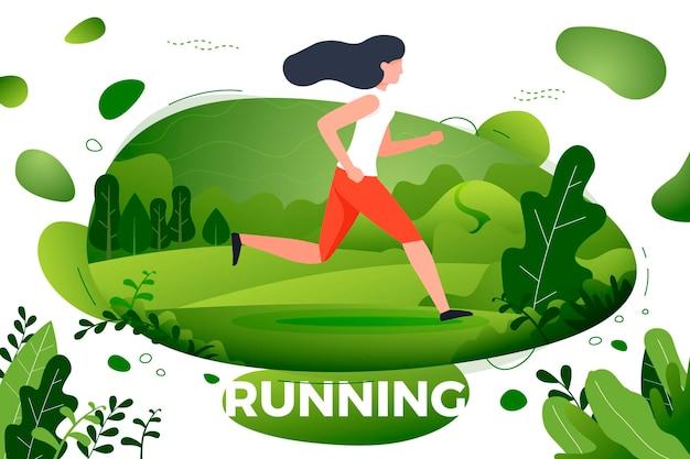Sportief meisje dat in park loopt. park, bomen en heuvels op de achtergrond. banner, site, postersjabloon Premium Vector