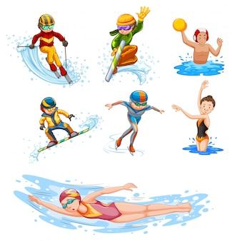 Sportieve activiteitsmensen op wit