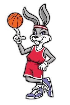 Sportieve basketbal konijn cartoon mascotte