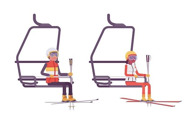 Sportieve jonge man en vrouw bij skilift, genieten van winterse buitenactiviteiten op resort, actieve vakantieplezier, winterrecreatie. vector vlakke stijl cartoon illustratie geïsoleerd, witte achtergrond