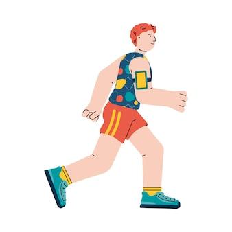 Sportieve jonge mannelijke loper een platte vector geïsoleerde illustratie