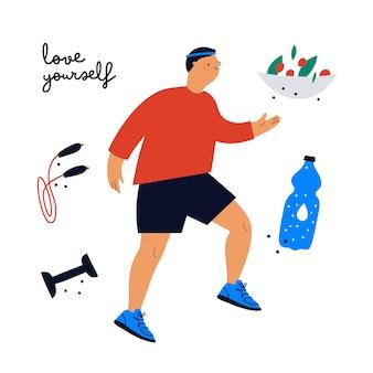 Sportieve jongeman met sportartikelen en gezonde voeding. lopende jongen in sneakers en sportkleding