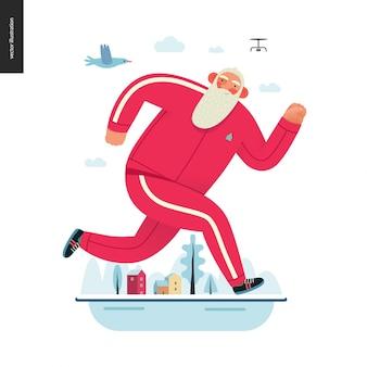 Sportieve kerstman, winter otdoor running