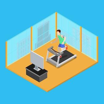 Sportieve man draait op loopband thuis. isometrische mensen. vector illustratie