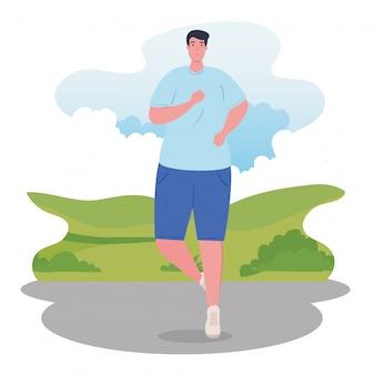 Sportieve man marathonloper, man run competitie of marathon race poster, gezonde levensstijl en sport