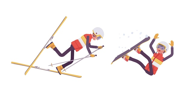 Sportieve man vallen in slechte techniek op skiresort