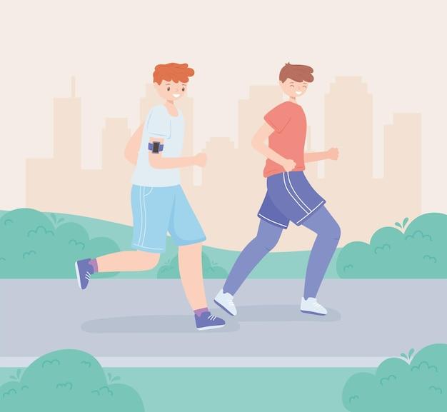 Sportieve mannen rennen