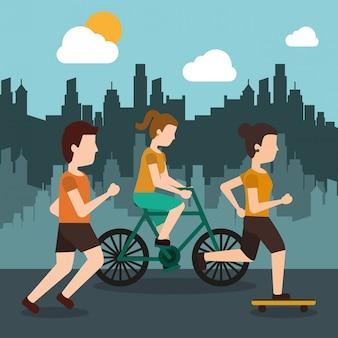 Sportieve mensen atletisch met stad achtergrond