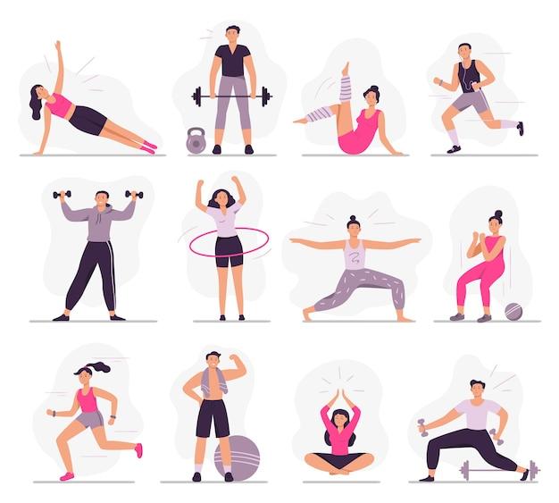 Sportieve mensen. jonge atletische vrouw fitnessactiviteiten, sport man en gymnastiekoefeningen