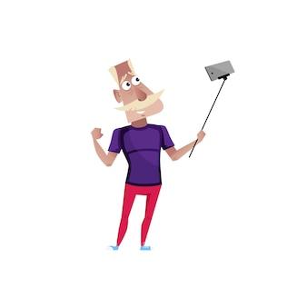 Sportieve oude man doet selfie karakter.