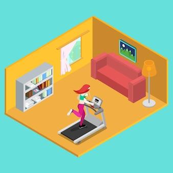 Sportieve vrouw draait op loopband thuis. isometrische mensen. vector illustratie