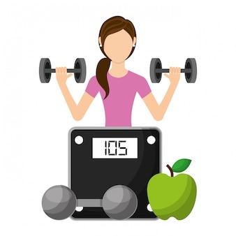 Sportieve vrouw een zwaar gewicht barbell met fruit en gewicht schaal op te heffen
