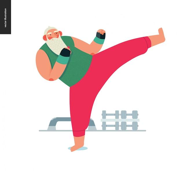 Sporting santa - aerobic kickboksen