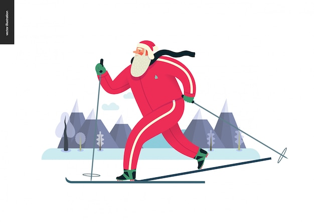 Sporting santa, winter ski-hardlopen