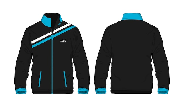 Sportjas blauw en zwart sjabloon